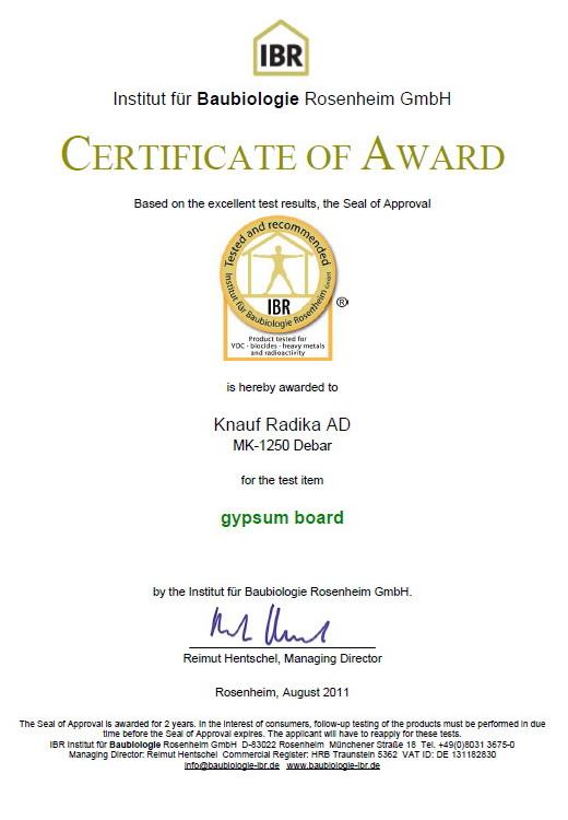 """IBR сертификат за гипсените плочи на домашната """"Кнауф Радика"""""""